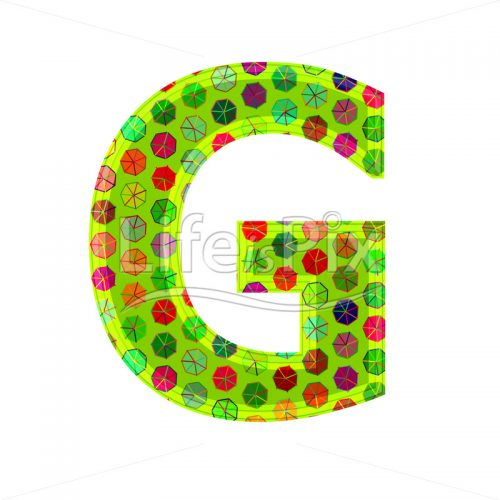 3d letter with decorative texture – G - Royalty free stock photos, illustrations and 3d letters fonts