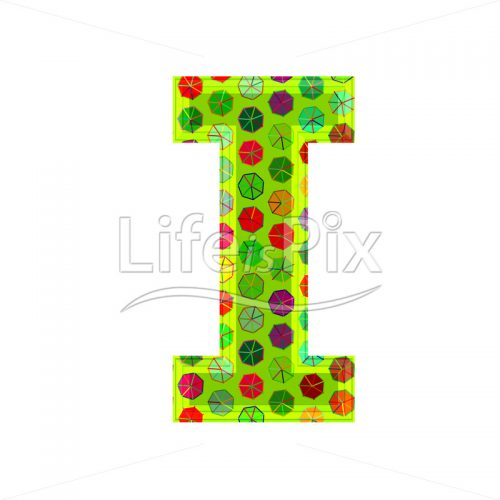 3d letter with decorative texture – I - Royalty free stock photos, illustrations and 3d letters fonts