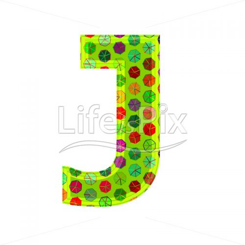 3d letter with decorative texture – J - Royalty free stock photos, illustrations and 3d letters fonts