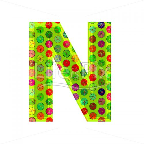 3d letter with decorative texture – N - Royalty free stock photos, illustrations and 3d letters fonts