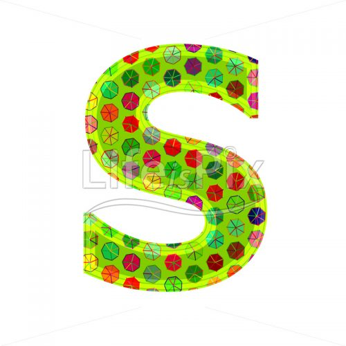 3d letter with decorative texture – S - Royalty free stock photos, illustrations and 3d letters fonts