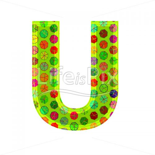 3d letter with decorative texture – U - Royalty free stock photos, illustrations and 3d letters fonts