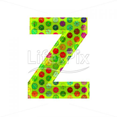 3d letter with decorative texture – Z - Royalty free stock photos, illustrations and 3d letters fonts