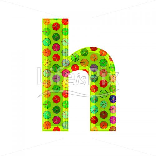 3d letter with decorative texture – h - Royalty free stock photos, illustrations and 3d letters fonts