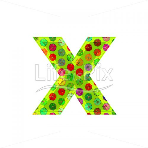 3d letter with decorative texture – x - Royalty free stock photos, illustrations and 3d letters fonts
