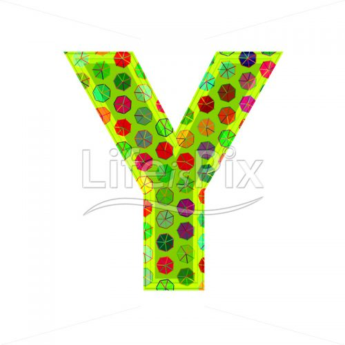 3d letter with decorative texture – Y – Royalty free stock photos, illustrations and 3d letters fonts