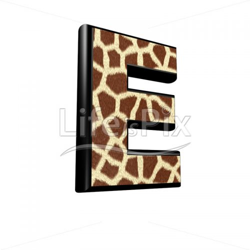 3d letter with giraffe fur texture – E - Royalty free stock photos, illustrations and 3d letters fonts