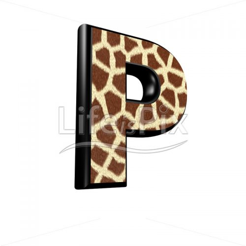 3d letter with giraffe fur texture – P - Royalty free stock photos, illustrations and 3d letters fonts