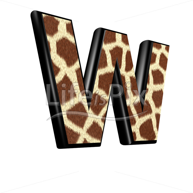 3d letter with giraffe fur texture – W - Royalty free stock photos, illustrations and 3d letters fonts