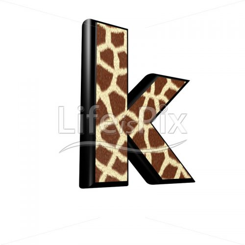 3d letter with giraffe fur texture – k - Royalty free stock photos, illustrations and 3d letters fonts