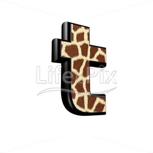 3d letter with giraffe fur texture – t - Royalty free stock photos, illustrations and 3d letters fonts