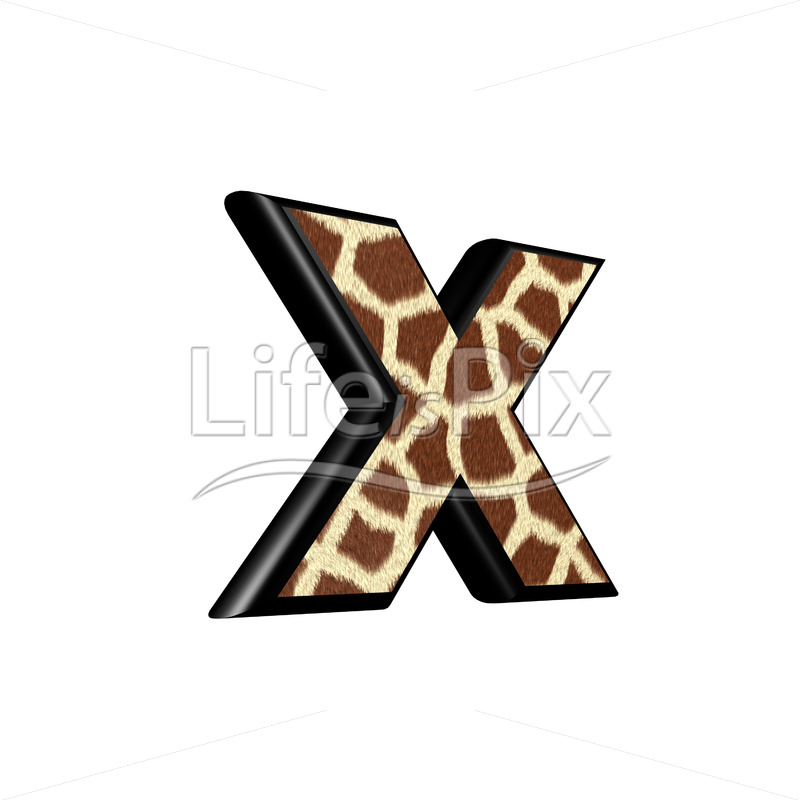 3d letter with giraffe fur texture – x - Royalty free stock photos, illustrations and 3d letters fonts
