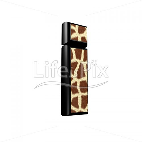 3d letter with giraffe fur texture – i character isolated on white background
