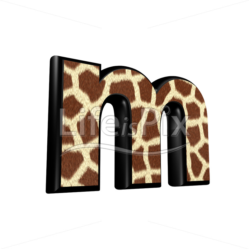 3d letter with giraffe fur texture – m – Royalty free stock photos, illustrations and 3d letters fonts