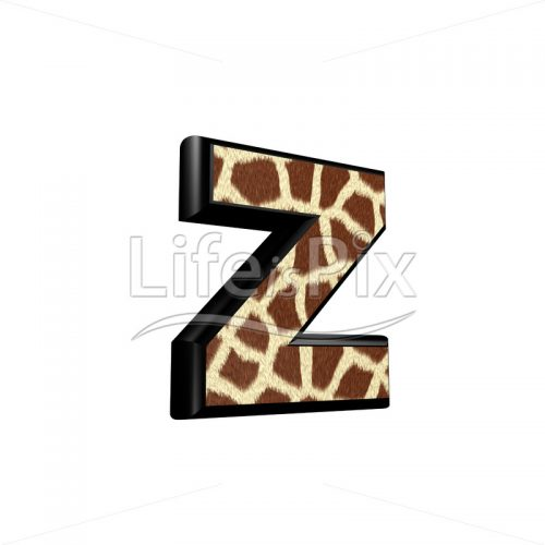 3d letter with giraffe fur texture – z – Royalty free stock photos, illustrations and 3d letters fonts