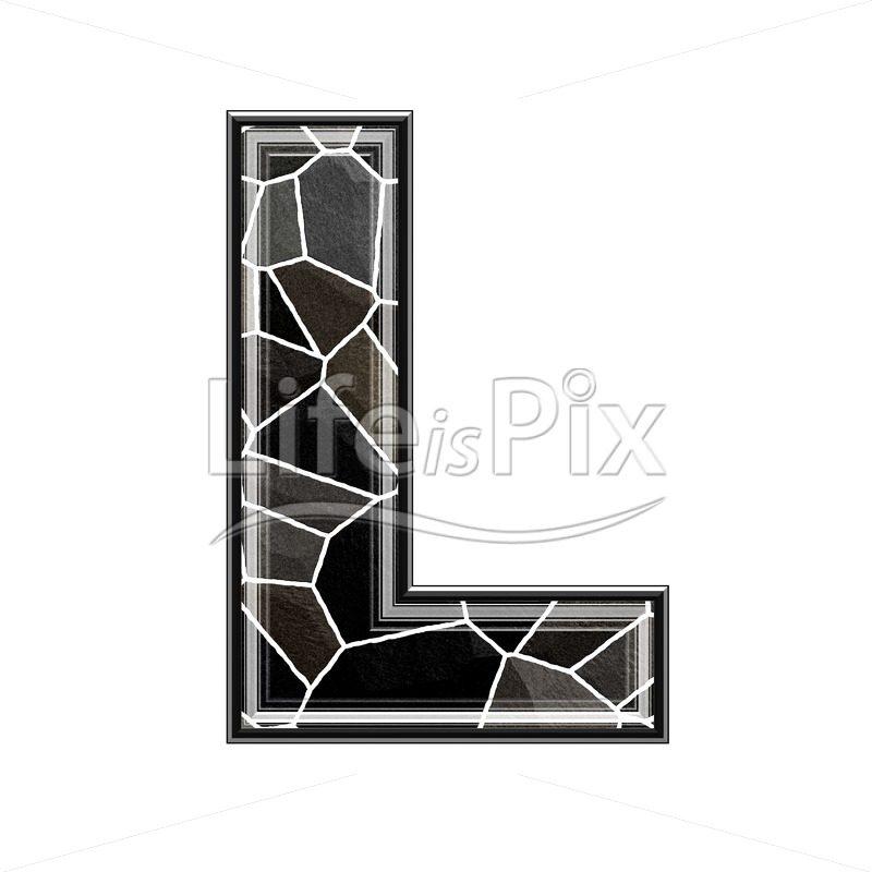 3d letter with stone pavement texture - L
