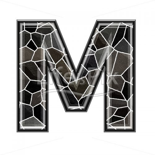 3d letter with stone pavement texture – M - Royalty free stock photos, illustrations and 3d letters fonts