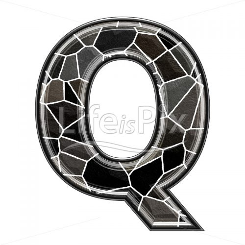 3d letter with stone pavement texture – Q - Royalty free stock photos, illustrations and 3d letters fonts