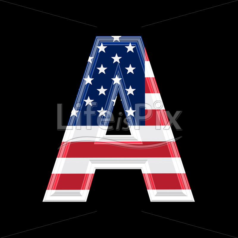 3d letter with us flag texture isolated on black background – A - Royalty free stock photos, illustrations and 3d letters fonts
