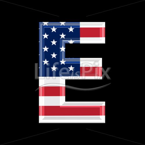 3d letter with us flag texture isolated on black background – E - Royalty free stock photos, illustrations and 3d letters fonts