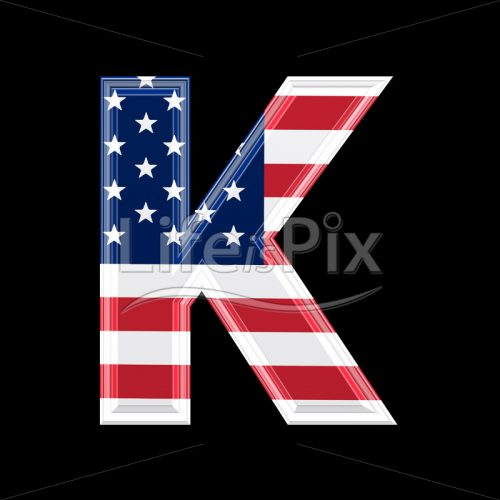 3d letter with us flag texture isolated on black background – K - Royalty free stock photos, illustrations and 3d letters fonts