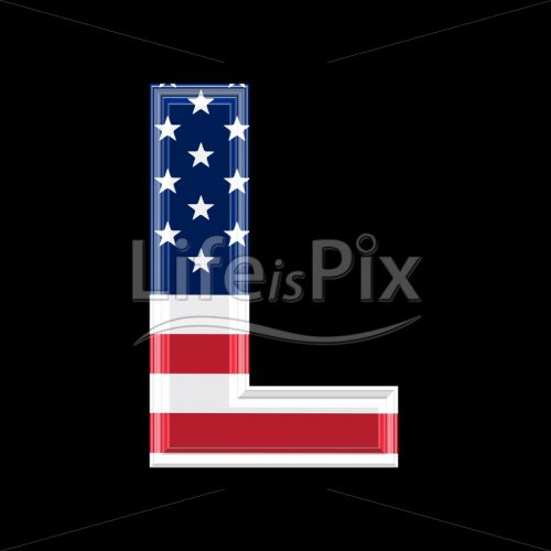 3d letter with us flag texture isolated on black background – L - Royalty free stock photos, illustrations and 3d letters fonts
