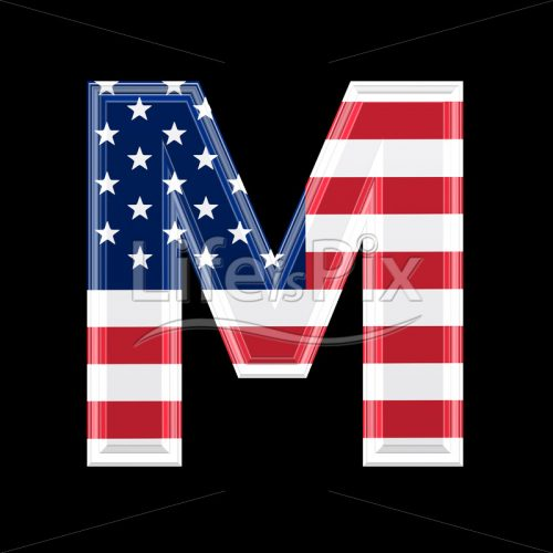 3d letter with us flag texture isolated on black background – M - Royalty free stock photos, illustrations and 3d letters fonts