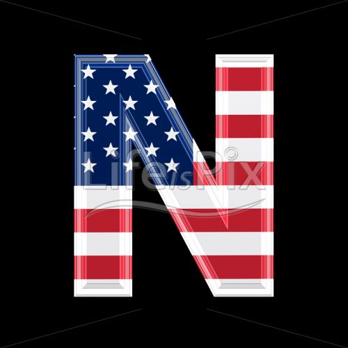 3d letter with us flag texture isolated on black background – N - Royalty free stock photos, illustrations and 3d letters fonts