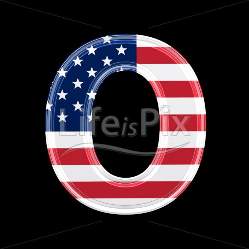 3d letter with us flag texture isolated on black background – O - Royalty free stock photos, illustrations and 3d letters fonts