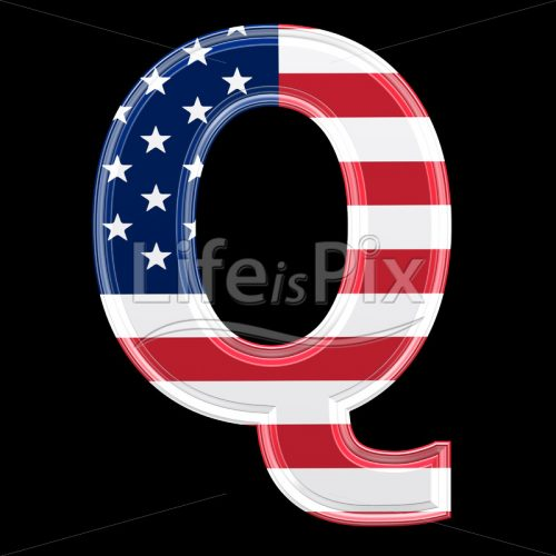 3d letter with us flag texture isolated on black background – Q - Royalty free stock photos, illustrations and 3d letters fonts