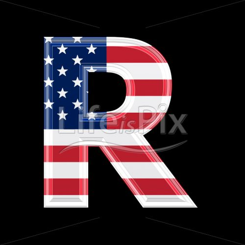 3d letter with us flag texture isolated on black background – R - Royalty free stock photos, illustrations and 3d letters fonts