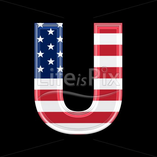 3d letter with us flag texture isolated on black background – U - Royalty free stock photos, illustrations and 3d letters fonts