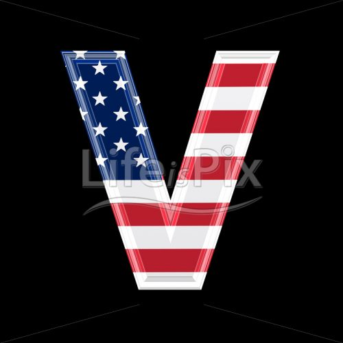 3d letter with us flag texture isolated on black background – V - Royalty free stock photos, illustrations and 3d letters fonts