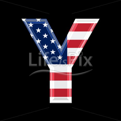 3d letter with us flag texture isolated on black background – Y - Royalty free stock photos, illustrations and 3d letters fonts