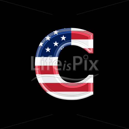 3d letter with us flag texture isolated on black background – c - Royalty free stock photos, illustrations and 3d letters fonts