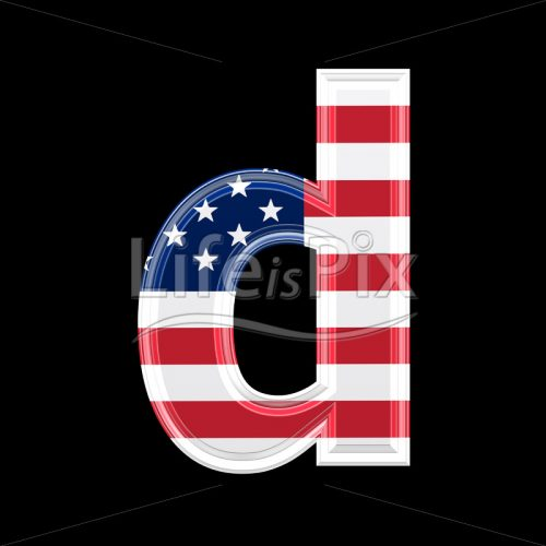 3d letter with us flag texture isolated on black background – d - Royalty free stock photos, illustrations and 3d letters fonts