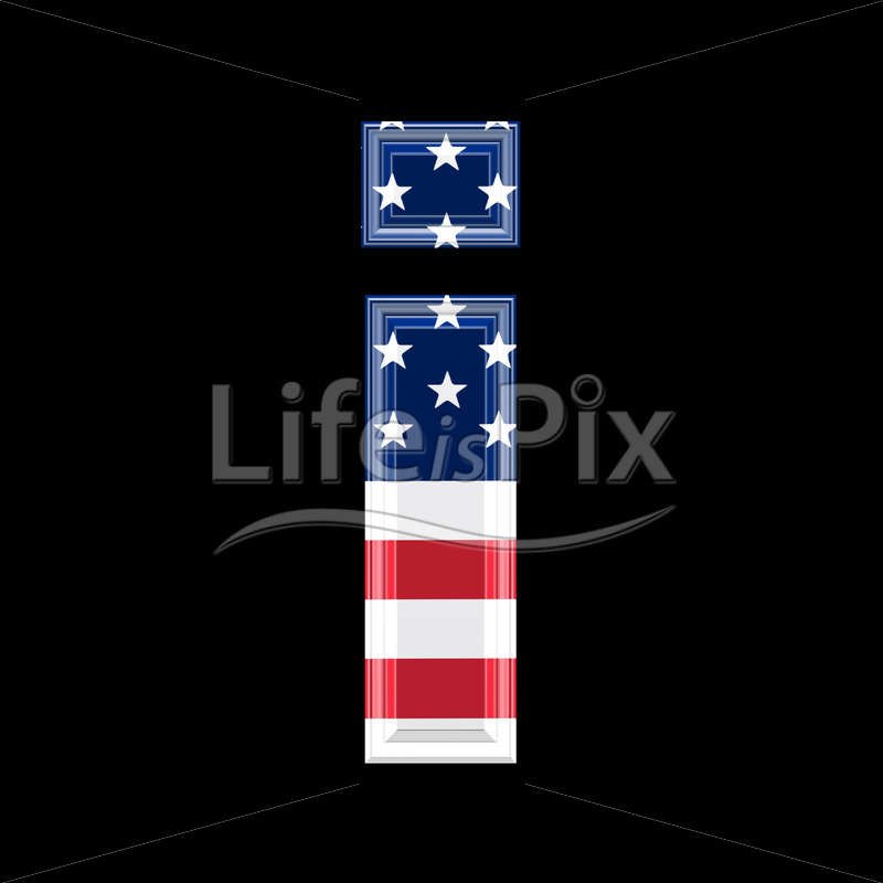 3d letter with us flag texture isolated on black background – i - Royalty free stock photos, illustrations and 3d letters fonts