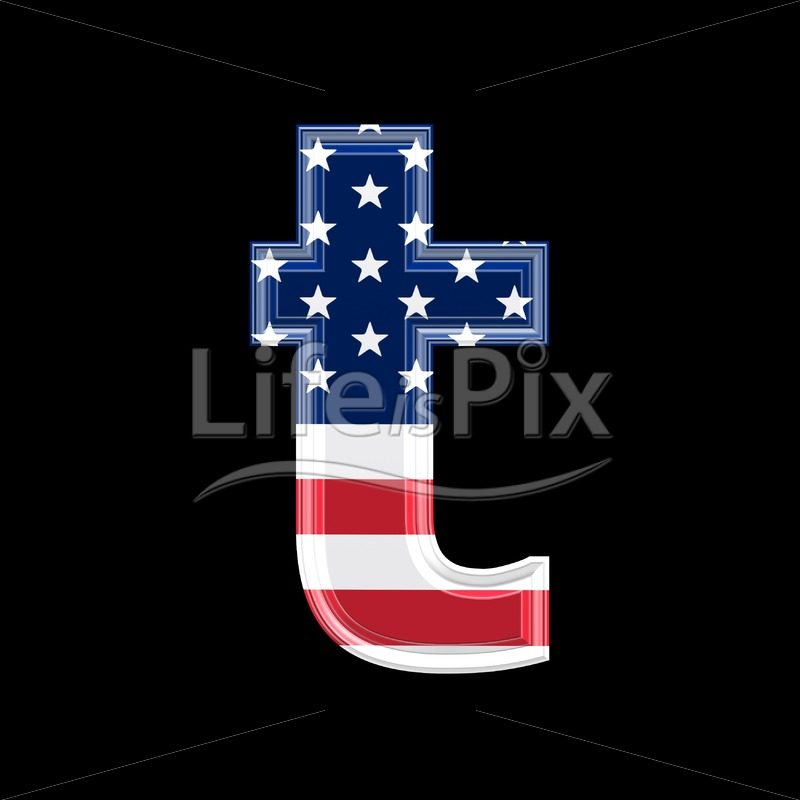 3d letter with us flag texture isolated on black background – t - Royalty free stock photos, illustrations and 3d letters fonts