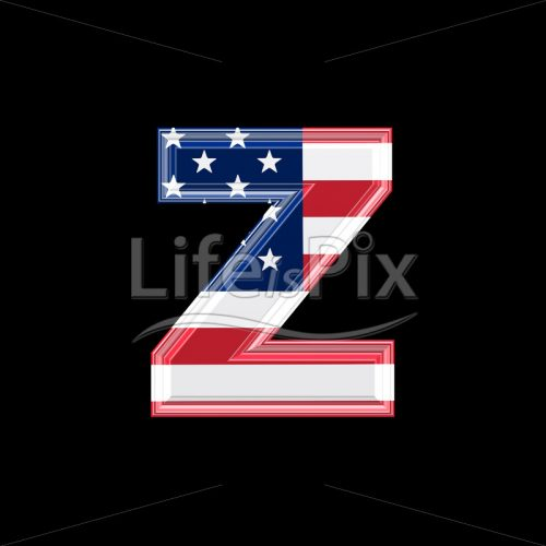 3d letter with us flag texture isolated on black background – z - Royalty free stock photos, illustrations and 3d letters fonts