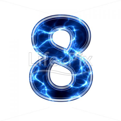 3d number with blue lightning texture on white background – 8 – Royalty free stock photos, illustrations and 3d letters fonts