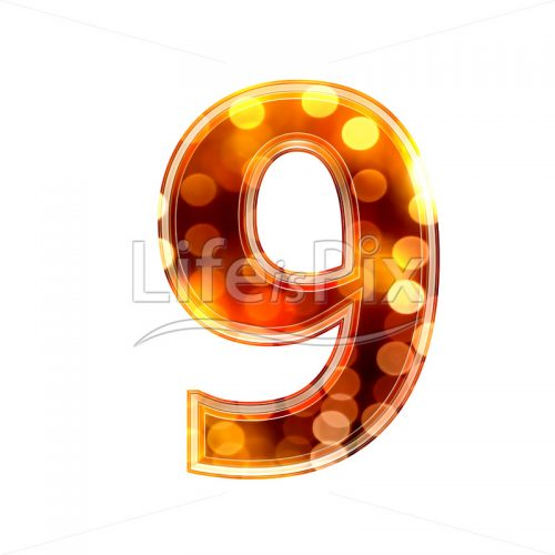 3d number with blur defocus lights texture – 9 – Royalty free stock photos, illustrations and 3d letters fonts