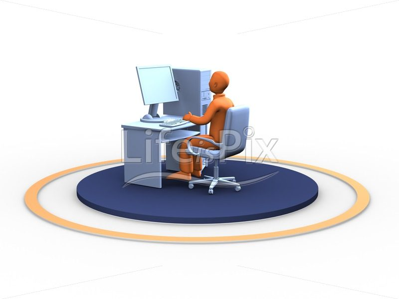 3d orange man at work - Royalty free stock photos, illustrations and 3d letters fonts