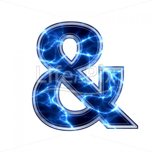 3d sign with blue lightning texture on white background - Royalty free stock photos, illustrations and 3d letters fonts