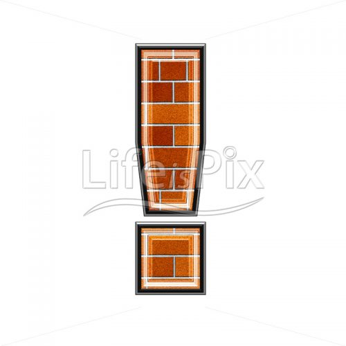 3d sign with brick wall texture – exclamation point – Royalty free stock photos, illustrations and 3d letters fonts