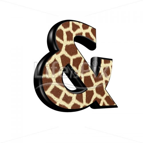 3d sign with giraffe fur texture – symbol illustration isolated on white background