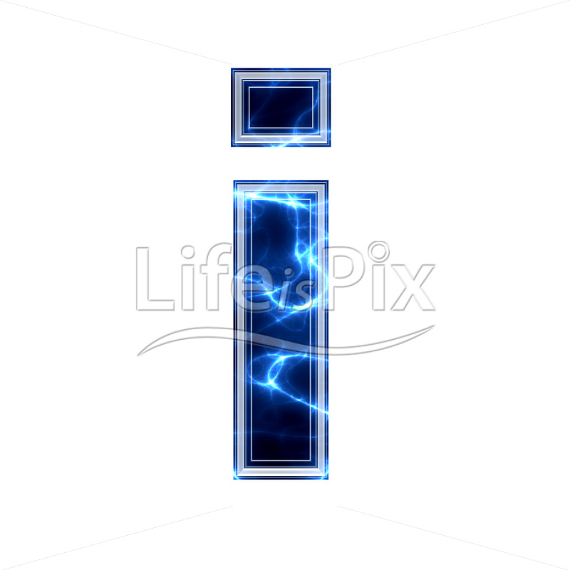 3d small letter with blue lightning texture on white background – i - Royalty free stock photos, illustrations and 3d letters fonts