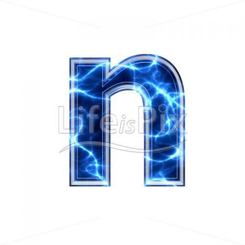 3d small letter with blue lightning texture on white background – n - Royalty free stock photos, illustrations and 3d letters fonts