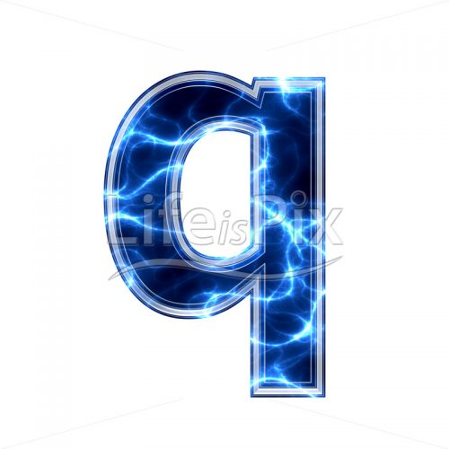 3d small letter with blue lightning texture on white background – q - Royalty free stock photos, illustrations and 3d letters fonts