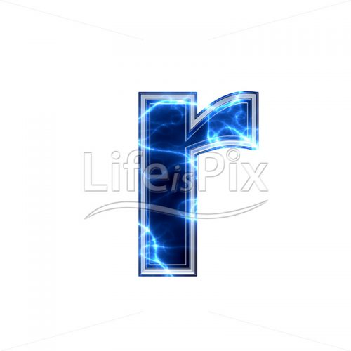 3d small letter with blue lightning texture on white background – r - Royalty free stock photos, illustrations and 3d letters fonts