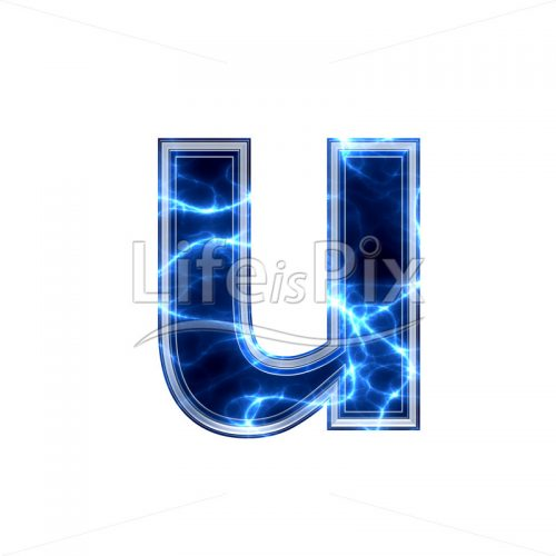 3d small letter with blue lightning texture on white background – u - Royalty free stock photos, illustrations and 3d letters fonts